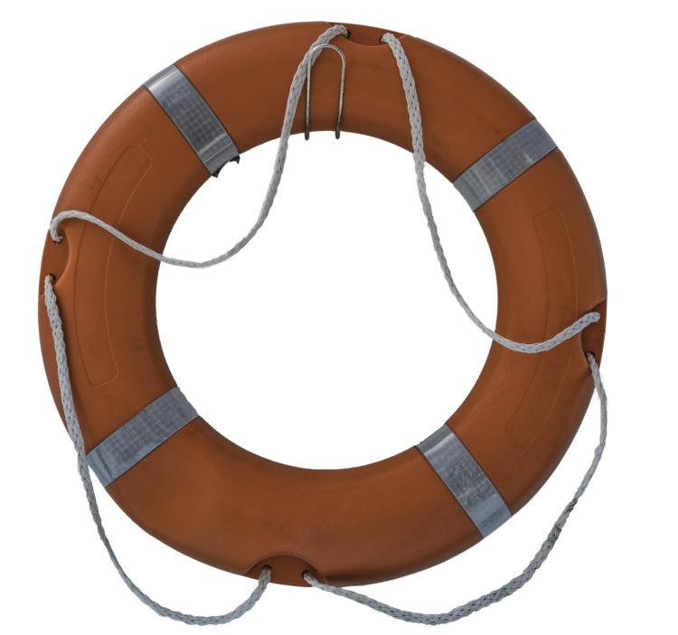 Livesaving ring: orange on white background